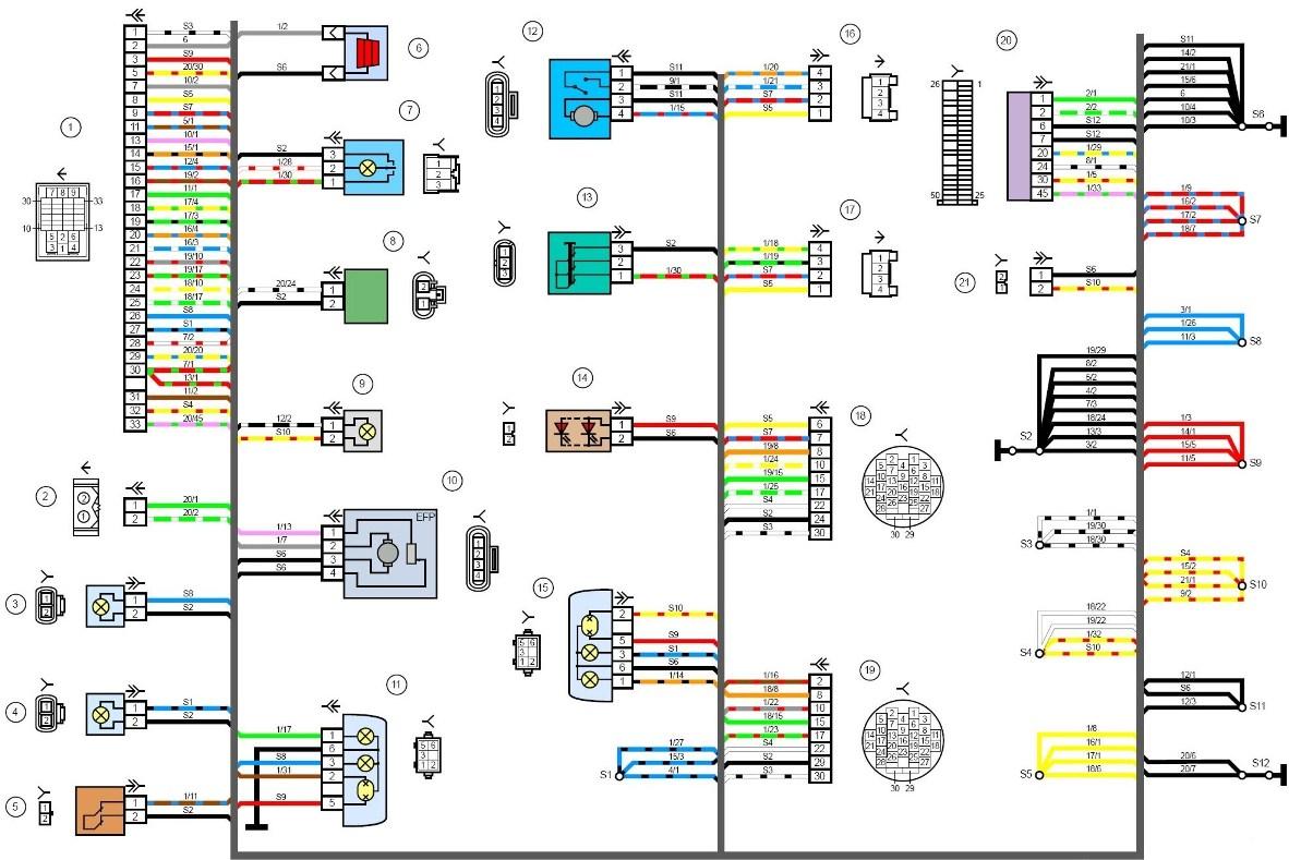 электрическая схема автомобиля лада гранта лифтбек